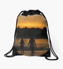 Beach Attractions Drawstring Bag