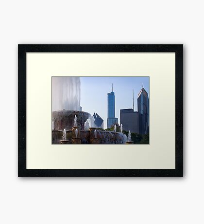 the Fountain and the City Framed Print