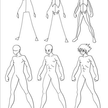 A manga male body evolution (black) by monken8