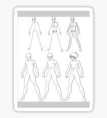A manga male body evolution (black) Sticker