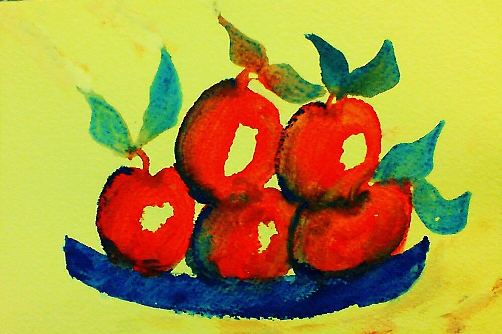 Plate of Apples,watercolor by Anna  Lewis, blind artist