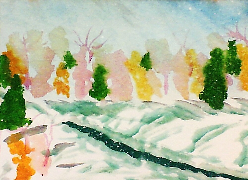 Cold wintery day,watercolor by Anna  Lewis, blind artist