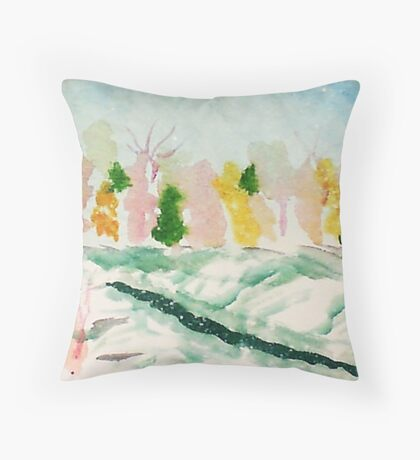 Cold wintery day,watercolor Throw Pillow
