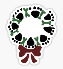 Funny Paw Prints and Biscuits Christmas Wreath Sticker