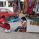 Isabel from Oaxaca is weaving in the streets - Tejando en la Calle by PtoVallartaMex