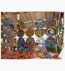 Handpainted plates and Wooden Bowls - Platos Pintados a Manos y Fuentes de Madera Poster