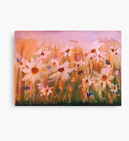 Field of Daisies series #1, watercolor Canvas Print