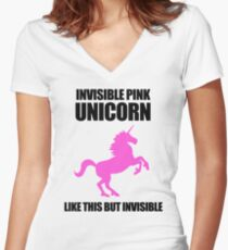 Invisible Pink Unicorn Women's Fitted V-Neck T-Shirt