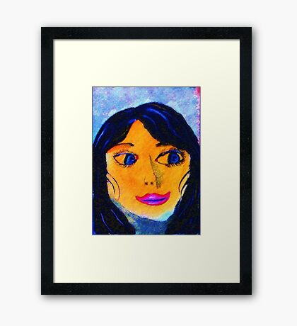 Memories of a cousin, Portrait, watercolor Framed Print