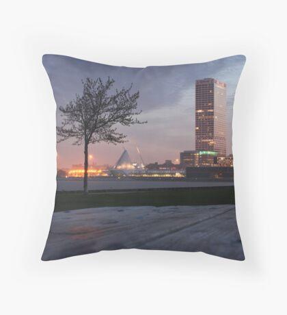 Milwaukee Night Cityscape Throw Pillow