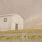 White Barn in Snow by Kent Nickell