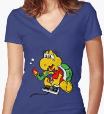 Video Games N' Mushrooms Women's Fitted V-Neck T-Shirt