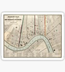 Vintage Map of New Orleans Louisiana (1845) Sticker