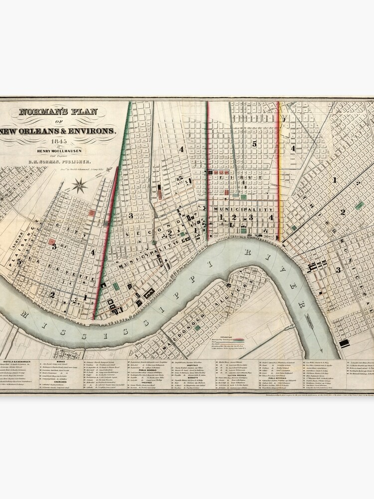 picture regarding Printable Maps of New Orleans named Typical Map of Contemporary Orleans Louisiana (1845) Canvas Print