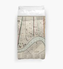 Vintage Map of New Orleans Louisiana (1845) Duvet Cover