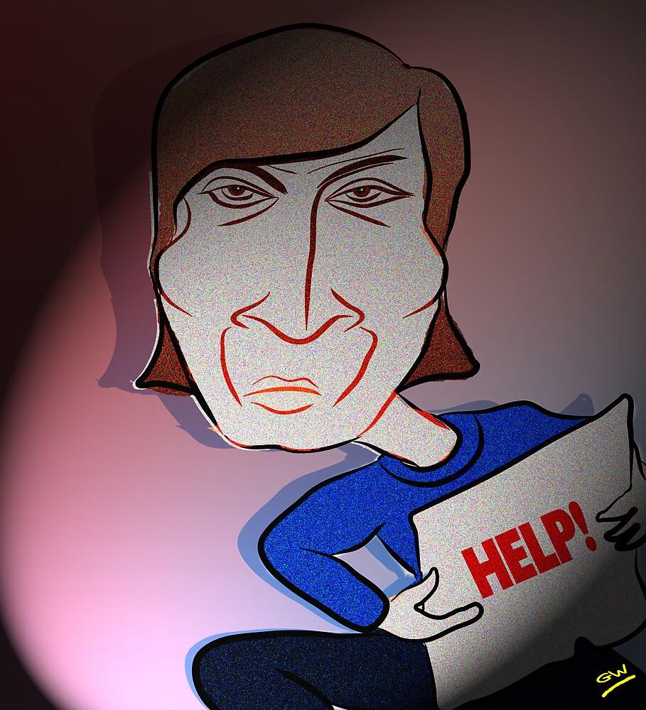 John Lennon Digital Cartoon Caricature by Grant Wilson