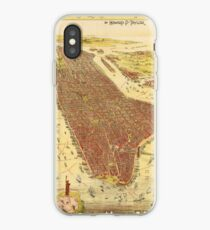Vinilo o funda para iPhone Vintage Pictorial Map of New york City (1891)