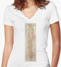 Camiseta entallada de cuello en V Vintage Map of New York City (1894)