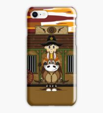 Cute Cowboy Sheriff on Horse at Jailhouse iPhone Case/Skin