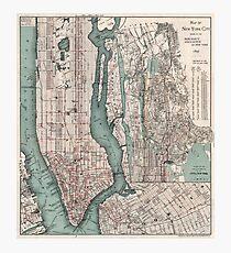 Lámina fotográfica Mapa vintage de la ciudad de Nueva York (1897)