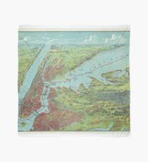 Pañuelo Mapa pictórico vintage de la ciudad de Nueva York (1909)
