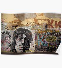 viktor tsoi street art in moscow Poster