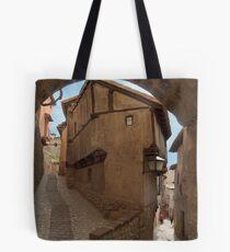 Narrow streets and archways of Albarracin, Aragon, Spain Tote Bag