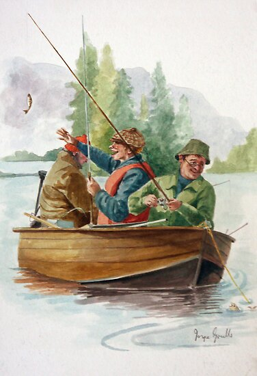 Three men in a boat fishing posters by joyce grubb for 3 person fishing boat