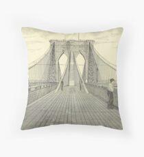 Cojín Vintage Brooklyn Bridge Illustration (1883) 2