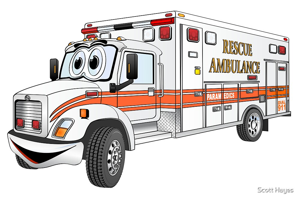 Cartoon Orange and White Ambulance by Graphxpro