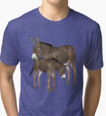 Donkey Mare and Foal  Tri-blend T-Shirt