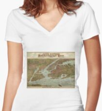 Camiseta entallada de cuello en V Vintage Pictorial Map of The NYC Area (1912)