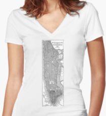 Camiseta entallada de cuello en V Vintage Map of New York City (1811)