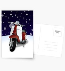 Mod Scooter (Lambretta) Special Christmas Card Postcards