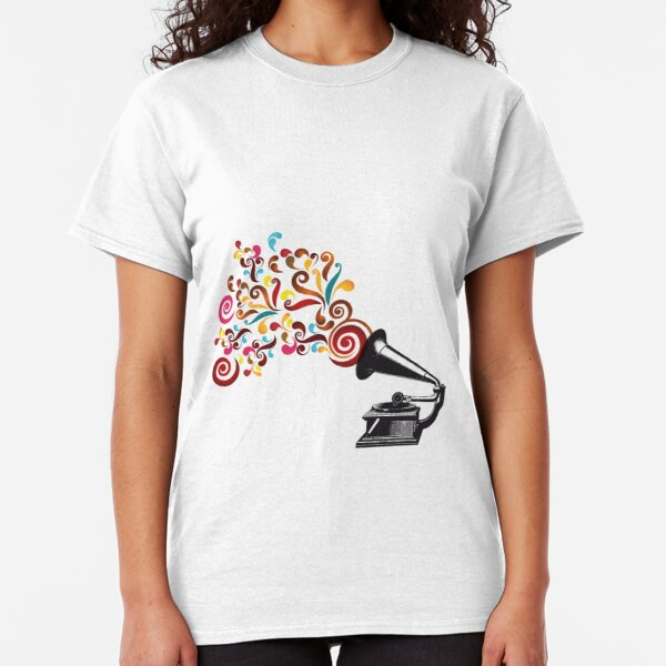 Abstract swirl background with record player Classic T-Shirt