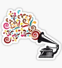 Abstract swirl background with record player Sticker