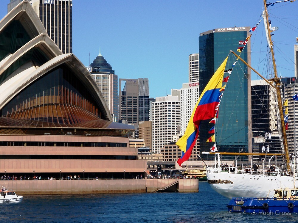The Colombian national flag against a national icon by Hugh Cross