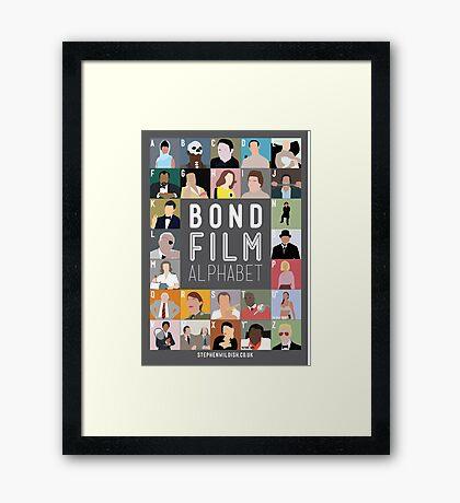 Bond Film Alphabet Framed Print