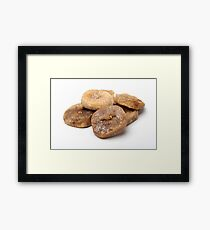 Cut out of dried figs On white Background  Framed Print