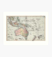 Vintage Map of Oceania (1892) Art Print