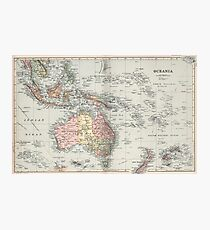 Vintage Map of Oceania (1892) Photographic Print