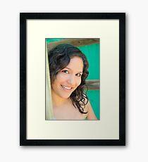 Close up of attractive brunette Framed Print