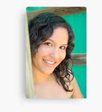 Close up of attractive brunette Canvas Print