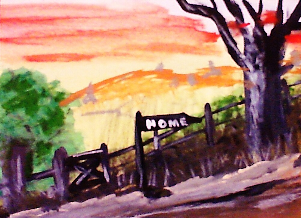 Rural roadhome,watercolor by Anna  Lewis, blind artist