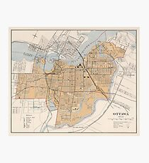 Vintage Map of Ottawa Canada (1915) Photographic Print