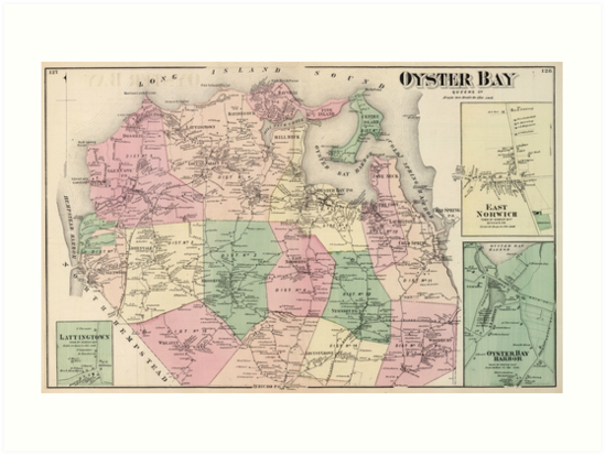 Oyster Bay New York Map.Vintage Map Of Oyster Bay New York 1873 Art Prints By