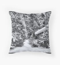 A Snowy Path in the Forest - A Secluded Country Cabin in the Woods after a Canadian Blizzard Throw Pillow