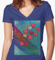 Hearts in the wind Women's Fitted V-Neck T-Shirt