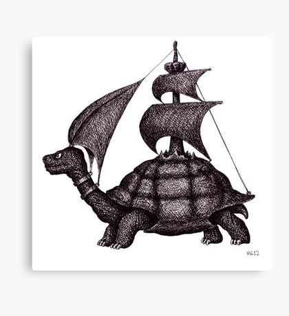 Sailing Turtle surreal black and white pen ink drawing Canvas Print