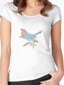 Dear Little Cross Stitch Bird Women's Fitted Scoop T-Shirt